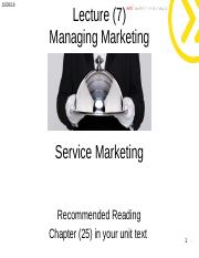 Lecture 7 -  Service Marketing student.ppt