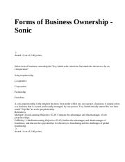 Forms of Business Ownership