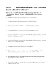 Review & Missed Class 5 Make-up Questions - Marketing Effectiveness