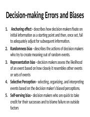 Chapter 7 Lecture Supplement - Decision-making errors examples