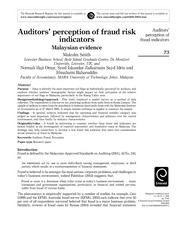 auditors+perception+of+fraud+risk+indicators