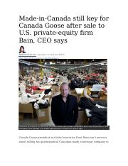 20131210 - Made-in-Canada still key for Canada Goose after sale to U.S. private-equity firm Bain, CE
