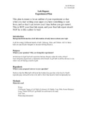 Biology Lab Report Experiment Plan