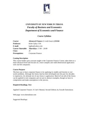 Advanced Finance syllabus Spring 2013