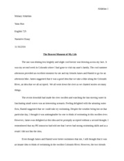 Narrative Essay, THE BRAVEST MOMENT