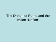 The Dream of Rome and the Italian Nation