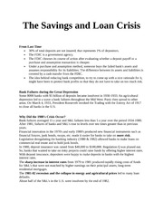 The Savings and Loan Crisis