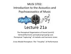 Lecture 21 - Wright - Auditory Gestalt (Vertical Integration) - Visuality of Performance