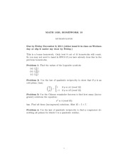 Homework H on Applied Elementary Number Theory