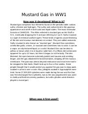 Mustard Gas in WW1