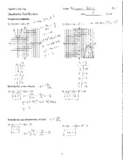 Quadratics Test Review Answer Key