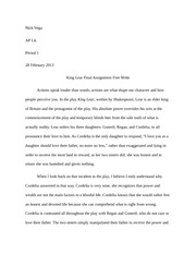 AP Lit - King Lear Final Assignment