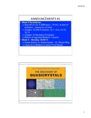 Quasicrystals Guest Lecture (SM), 10-28-13