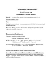 Information Literacy Project