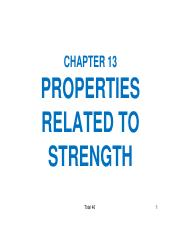CH 13 Properties related to Strength