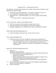 Employment Law - Final Exam Study Guide