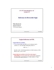 Lecture Notes on Inference in first-order logic