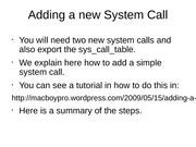 Adding a new System Call