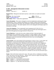 IS 300 Syllabus - spring 2013 - section 1 mon-1