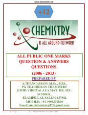 XII Chemistry Public one Marks (2006-2013)(1)