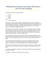 Writing Short Answers -- The Five Ws Strategy