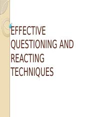 effective questioning and reacting techniques