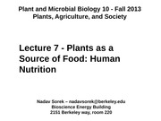 7 - Plants as a Source of Food Human Nutrition