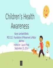 Week 3 - Assignment - Childrens Health Awareness