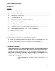 Sri Lankan Company Law_Lecture Outline_Winding Up 17.doc