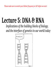 Lecture 5 - DNA & RNA