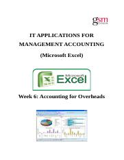 Week 6 Accounting for Overheads