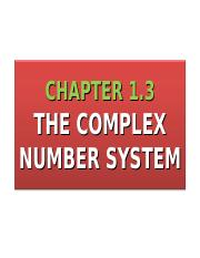 1.3 The Complex Number System as a Number Field