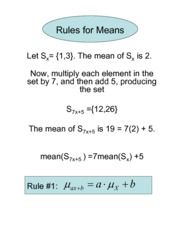 Rules for means and variances