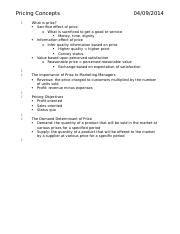 MKT 3401 Chapter 19 Notes