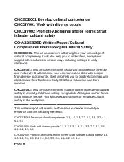 CHCECE001 Develop cultural competence CHCDIV001 Work with diverse people.docx