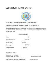 AKSUM UNIVERSITY regi docx - AKSUM UNIVERSITY COLLAGE OF ENGNEERING