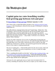 Mufson and Yang, Capital gains tax rates benefiting wealthy feed growing gap between rich and poor