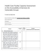 Health Care Facility Capacity Assessment on the Accessibility of Services for Vulnerable Groups.docx