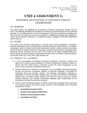 NT2580 Unit 4 - Assignment 1 - Enhance an Existing IT Security Policy Framework