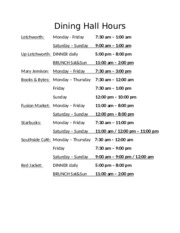 dining hall hours