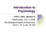 Lecture 4. Biological Bases of Behaviour (I)