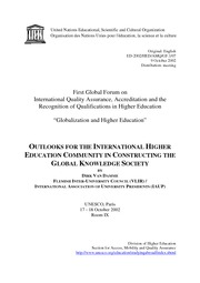 OUTLOOKS FOR THE INTERNATIONAL HIGHER EDUCATION COMMUNITY IN CONSTRUCTING THE GLOBAL KNOWLEDGE SOCIE