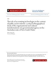 The role of accounting technologies in the context of public sect