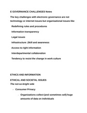 E GOVERNANCE CHALLENGES Notes