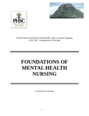 LAP 1 Foundations of Mental Health