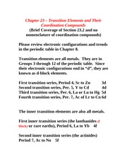 Transition Elements and Coordination Compounds