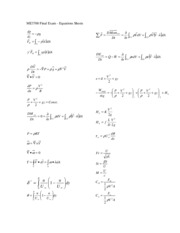 ME EN 3700 - Final Exam Equation Sheet