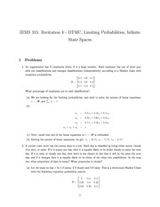 Recitation_4 DTMC, Limiting Probabilities, Infinite State Spaces