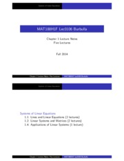 MAT188 Chapter1 Systems of Linear Equations