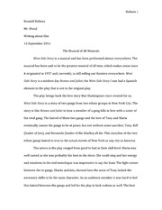 ENG 152 - Writing about Film - West Side Story Write up